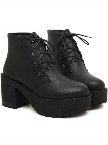 Korean Lady Bandage Chunky Heel Platform Ankle Boots In Black