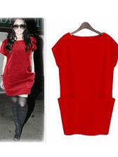 European Style Large Side Pocket Pure Color Short Sleeve Dress
