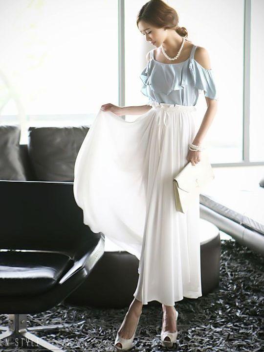 Bohemian Style Ruffles Off Shoulder Patchwork Color Block Ankle-length Dress