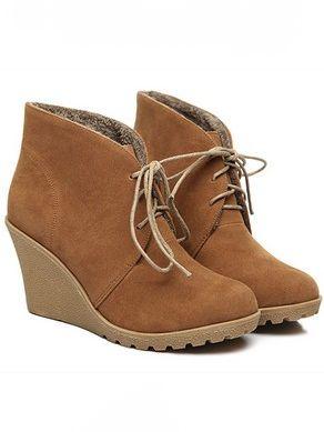 Elegant Lady Front Bandage Wedge Heel Platform Ankle Boots