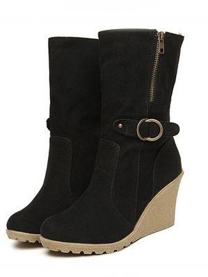 Korean Style Zipper Belt Buckle Wedge Heel Platform Boots