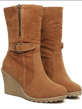 Trendy Fashion Zipper Belt Buckle Wedge Heel Platform Boots