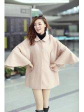 Exceptional Temperament Ruffles Solid Color Lapel Wool Long Cloak Coats