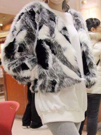 Korean Winter Faux Fur Color Block Long Sleeve Short Coats