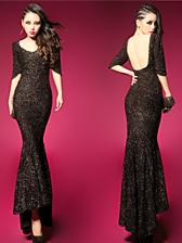 European Star Style Slim Wrap Backless Fishtail Half Sleeve Shining Dress