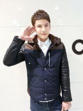 Korea Winter PU Sleeve Hooded Collar Men Cotton Coats