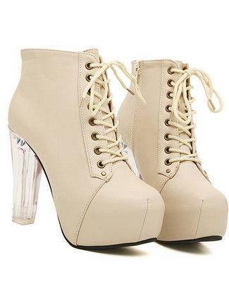 New Fashion Crystal Lucency Heel Bandage Chunky Heel Platform Ankle Boots
