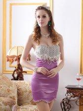 Gorgeous Women Polka Dots Pearl Beaded Applique Wrap Hip Dress