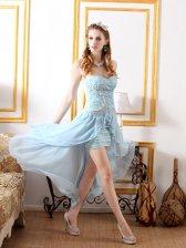 European Style Strapless Lace Embossing Asymmetrical Hem Wrap Dress
