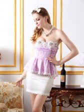 European Glamorous Sweet Style Fake Two Pieces Solid Lace Flower Diamonds Dress
