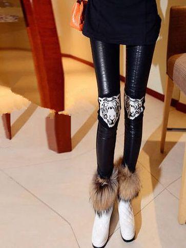 Winter Fashion Trend Tiger Pattern PU Spliced Leggings