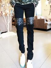 Punk Style PU Matching Rivets Men Long Smart Pants