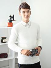 Newly Korea Pure Color Mahair V Collar Men Pullover