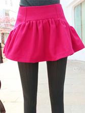 European Vintage Style Easy Matched Slim Waist Fluffy Woolen Culottes