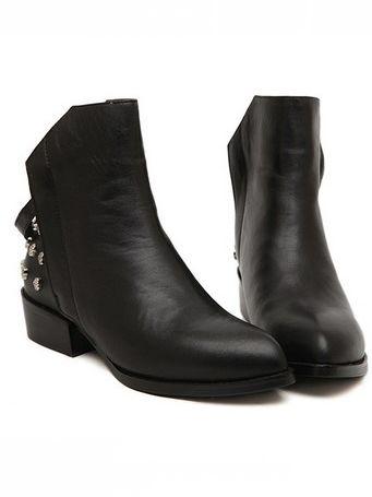 Luxurious Leather Back Side Zipper Rivet Chunky Heel Platform Ankle Boots