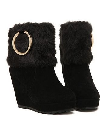 Fantastic Style Metal Decoration Side Zipper Wedge Heel Ankle Boots