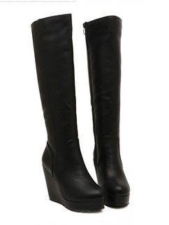 New Arrival Side Zipper Wedge Heel Platform Knee Boots