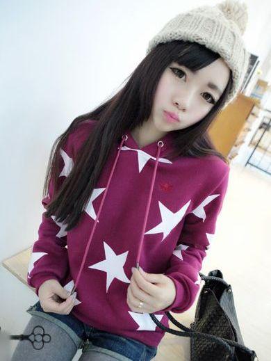 Japanese Fashion Star Pattern Long Sleeve Hooded Hoodies