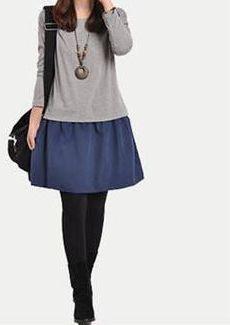 Korea Autumn Loose sleeve Faux Two Piece Long Sleeved Dress