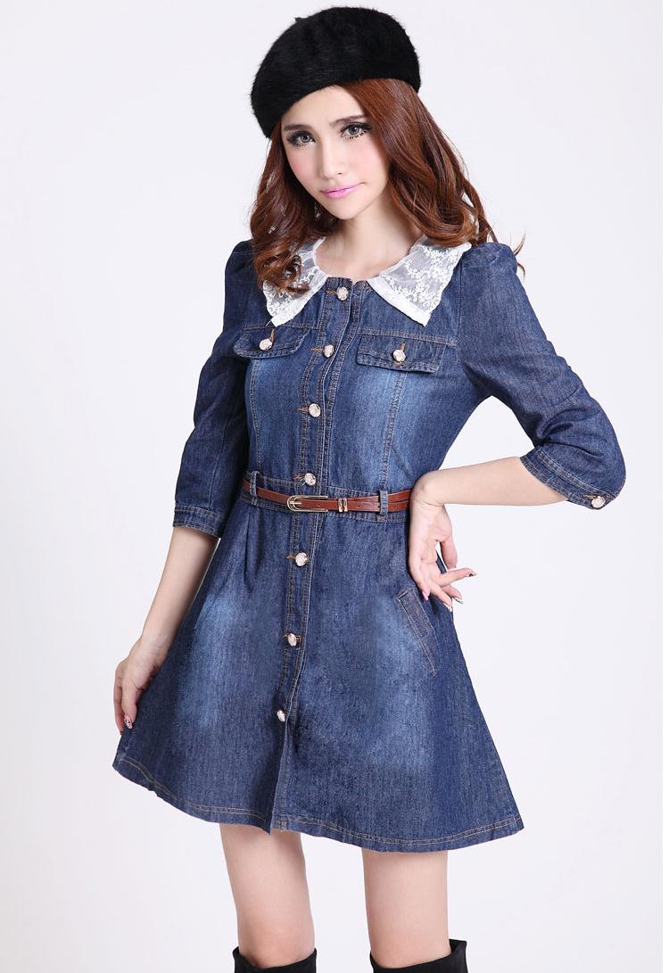 New Arrival Vintage Detachable Lace Collar Denim Dress