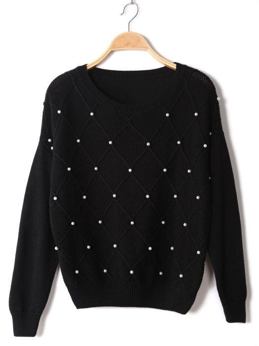 Feminine Feel Studded Ornament Long Sleeve Knitted Pullover Sweater