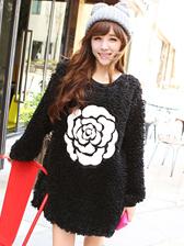 Korean Sweet Style PU Splicing Flower Color Block Round Collar Casual Hoodies