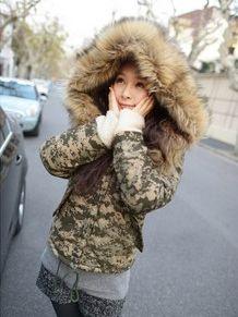 Smart Style Disruptive Pattern Fur Cap Warm Coat
