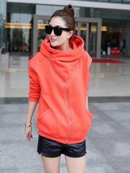 Korean Stylish Zip Up Hooded Casual Polo Collar Long Hoodies