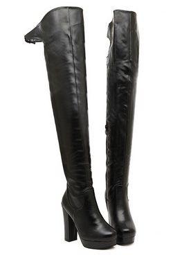 New Design Back Belt Buckle Side Zipper Chunky Heel Platform Knee Boots