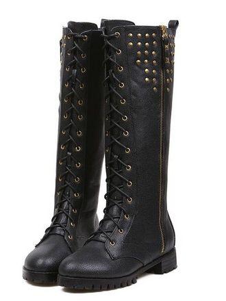 Korean Stylish Side Zipper Bandage Rivet Decoration Chunky Heel Boots