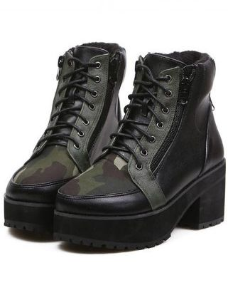 Designable Army Green Lace Up Side Zipper Chunky Heel Short Boots