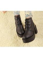 Fashionable Lace Up Rivet Design High Heel Short Boots