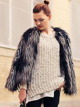 Vintage Fashion Faux Fur Color Block Round Neck Short Coats