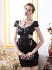 Glamorous Luxury Pearl Studded Ruffles Wrap Hip Black Cocktail Dress