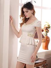 Pearl Studded U-Collar Empire Waist Slim Waist Noble Cocktail Dress