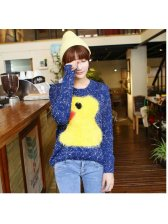 Fashion Top style Rubber Duck Color Block Batwing Sleeve Sweater