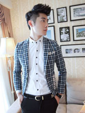 Stylish Men Plaid One Button Turn Collar Fitted Suits