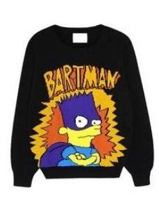 Retro Stylish Cartoon Printing Color Block Sweaters