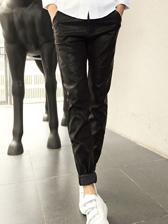Korea Cool Men Low Waist Rivets Pure Color Long PU Pants