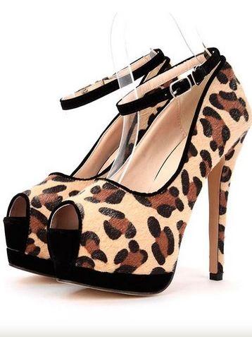 Trendy Lady Leopard Belt Buckle High Heel Platform Pumps