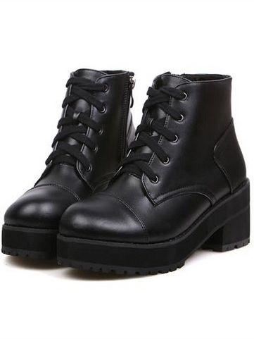European Stylish Side Zipper Bandage Chunky Heel Short Boots