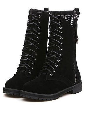 Latest Design Lace Up Side Zipper Rivet Chunky Heel Boots In Black