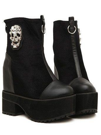 Punk Girl Back Zipper Skull Diamond Decoration Chunky Heel Boots In Black