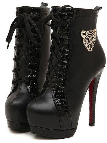 Sexy Style Bandage Metal Decoration Thin Heel Platform Boots