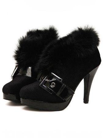 European Style Belt Buckle Fur Design Thin Heel Platform Ankle Boots