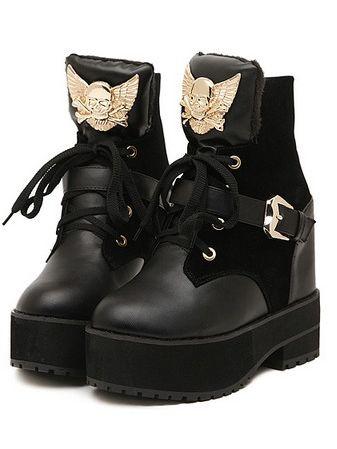 Cool Girl Metal Decoration Bandage Increase Chunky Heel Boots