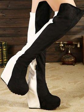 Color Block Side Opening Increase High Heel Knee Boots
