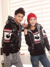 Korea Hooded Plaid Double Face Zip Up Couple Cotton Waistcoat