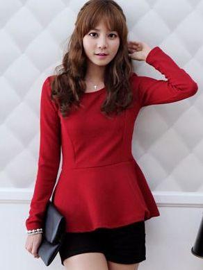 Korean Ladylike Ruffles Solid Color Long Sleeve Peplum Tops