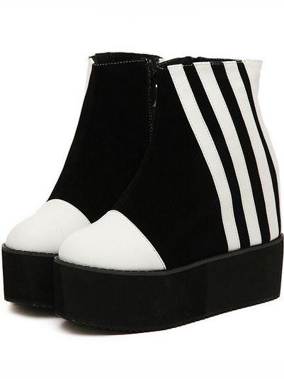 Color Block Montage Side Zipper Increase Wedge Heel Platform Ankle Boots